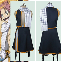 Adult Men Women Fairy Tail Etherious Natsu Dragneel Cosplay Costumes Full Set Vest + Skirt + Scarf good smile anime pvc 1 7 fairy tail natsu dragnir action figure natsu dragneel model toy decoration collections men gift 23cm