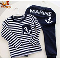Monkids Spring Kids Clothes Navy Long Sleeve Pullover Striped Sports Suit Casual Boys Clothing Set Kids Clothes Children Sets