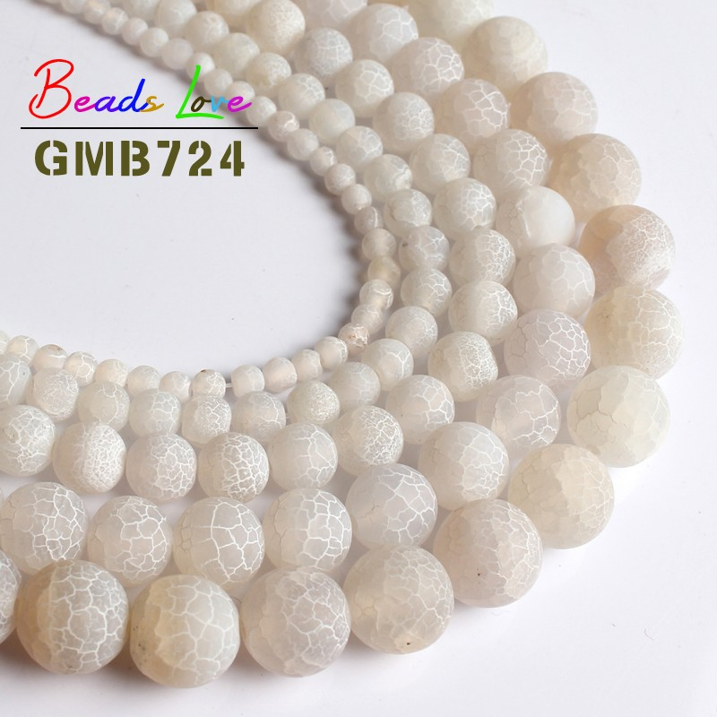 Natural Stone White Frost Spider Web Agates Onyx Round Beads For Jewelry Making Diy Bracelet Necklace 4/6/8/10/12mm 15 Inches Selling Well All Over The World Beads & Jewelry Making
