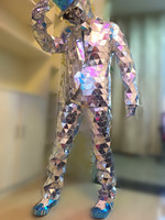 Super exaggerated show mirrors clothes concert male singer sequins jacket pants Bar nightclub wear party Paillette costume