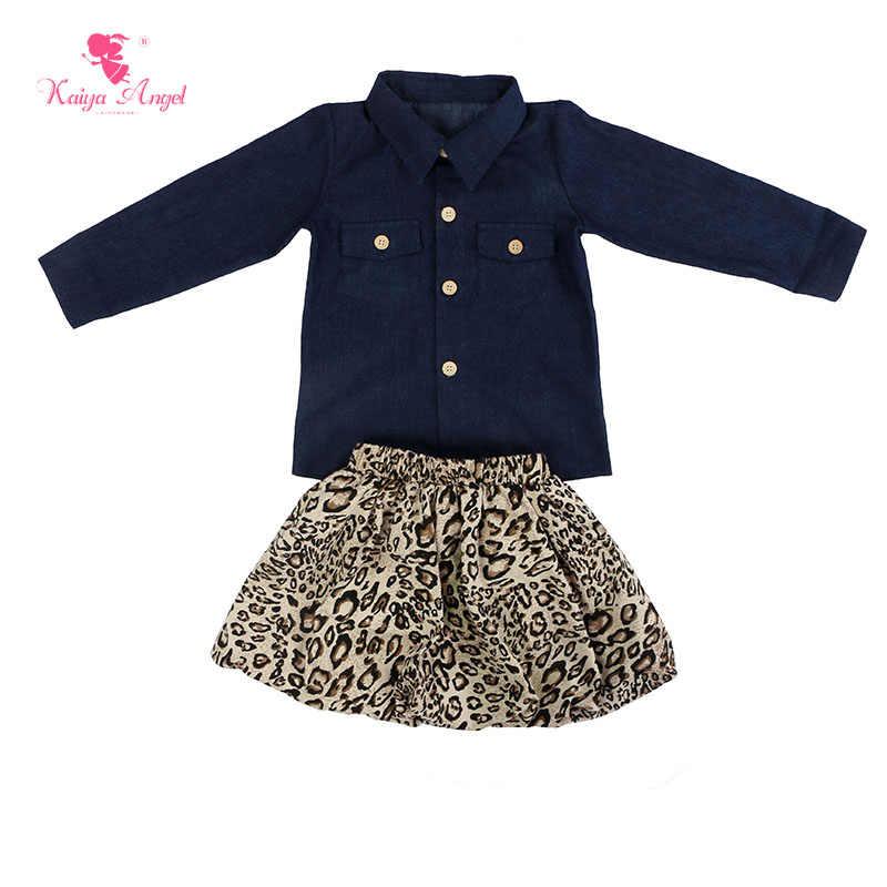Kaiya Angel 2017 veste en Denim chaud et jupe léopard usine en gros bébé enfants été costume fille mariage robe d'anniversaire