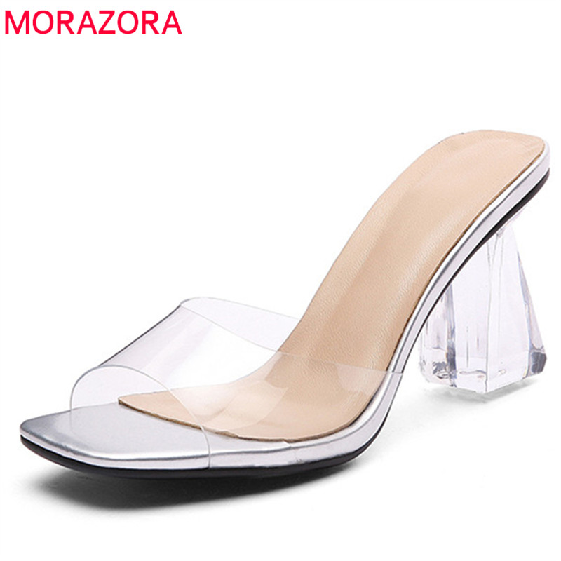MORAZORA Plus size 34-41 New thick high heels sandals women thick heels open toe slip on outside slipper fashion ladies shoesMORAZORA Plus size 34-41 New thick high heels sandals women thick heels open toe slip on outside slipper fashion ladies shoes