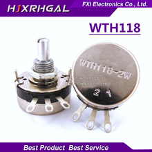 2PCS WTH118 2W 1A Potentiometer 1K 2.2K 4.7K 10K 22K 47K 100K 470K 1M WTH118-2W Round Shaft Carbon Rotary Taper Potentiometer