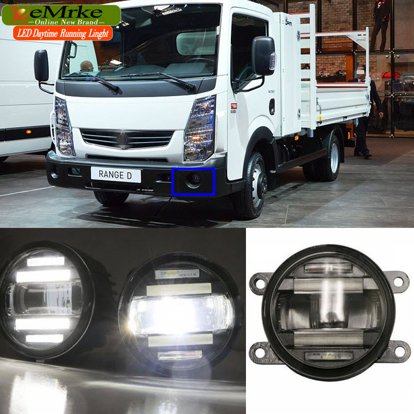 eeMrke Xenon White High Power 2in1 LED DRL Projector Fog Lamp With Lens For Renault Maxity Truck 2007-up eemrke xenon white high power 2 in 1 led drl projector fog lamp with lens daytime running lights for renault kangoo 2 2008 2015