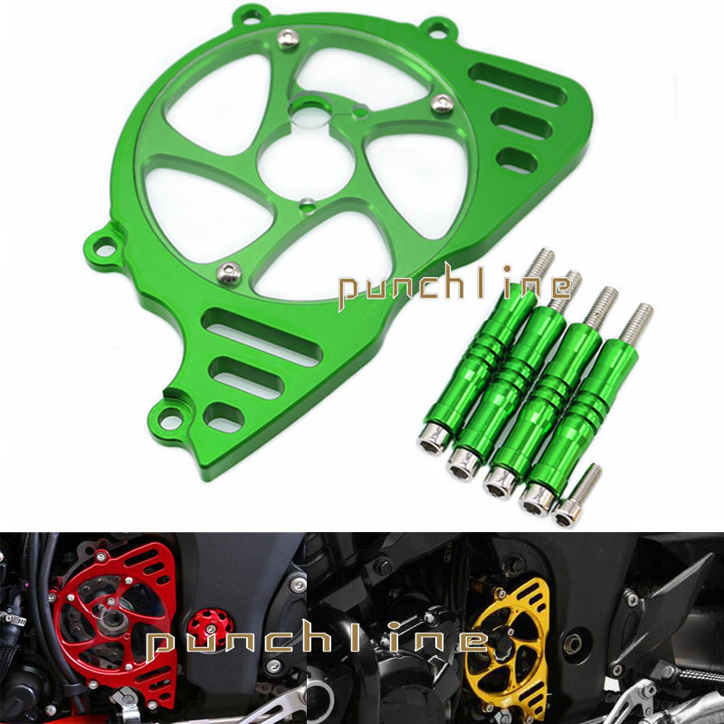 For KAWASAKI Z1000 2010-2016 2011 2012 2013 2014 Motorcycle Aluminum Front Sprocket Chain Guard Cover Left Side Engine Green motorcycle accessories motorbike front sprocket chain guard cover left side engine for honda grom msx125 msx 125 2013 2014 2015