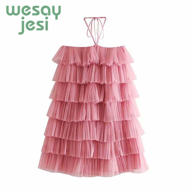 2019 Summer dress fashion lamination Sweet pink dress women off shoulder sexy dress mesh women cute Mini dress in Dresses from Women 39 s Clothing
