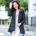 2017 New arrival women winter coat four colors cotton long section fur collar winter jacket zipper all-match fashion winter coat
