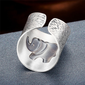 Image 3 - V.YA Solid 990 Sterling Silver Elephant Rings for Women Men Retro Animal Open Ring Womens Fashion Jewelry High Quality
