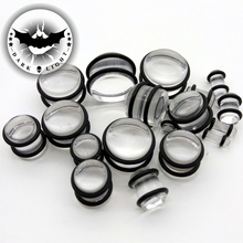 1Pair UV Acrylic Ear Plugs and Tunnel Gauges Earring Piercing Ear Stretching Kits Ear Reamer Expander 2mm-20mm Clear Black