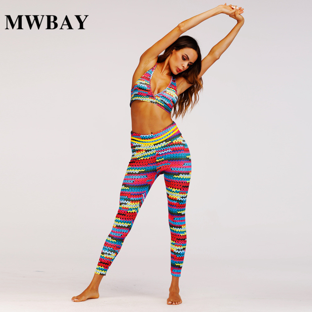 2018 Women Colorful Two Piece Set Summer Suit Workout Fitness Sporting Crop Top Clubwear Hips Pants and Yogawears