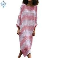 Ameision Dress Women Plus Size 5X dress Casual Linen Loose Batwing Sleeve Stripe Print Full Maxi Dresses Cotton summer 2019