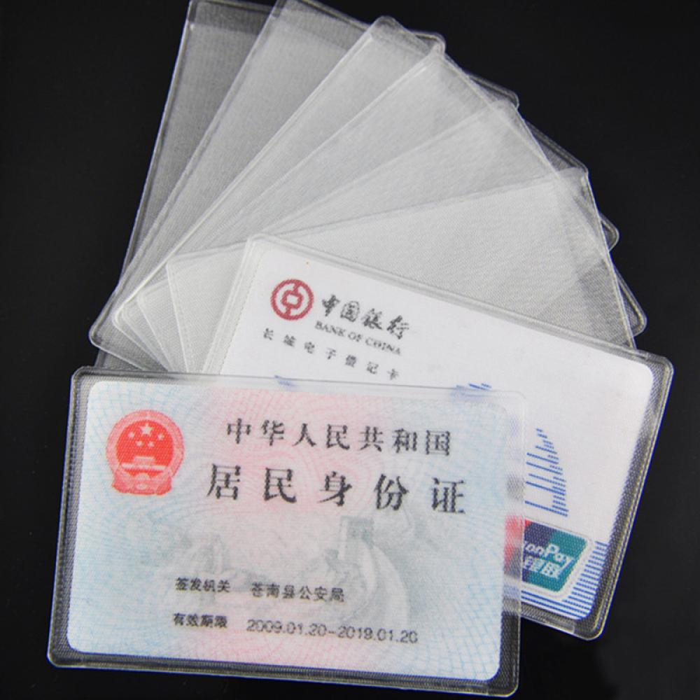 ISKYBOB 10pcs Pvc Id Credit Card Holder Plastic Card Protector Case To Protect Credit Cards Bank Cardholder Id Card Cover