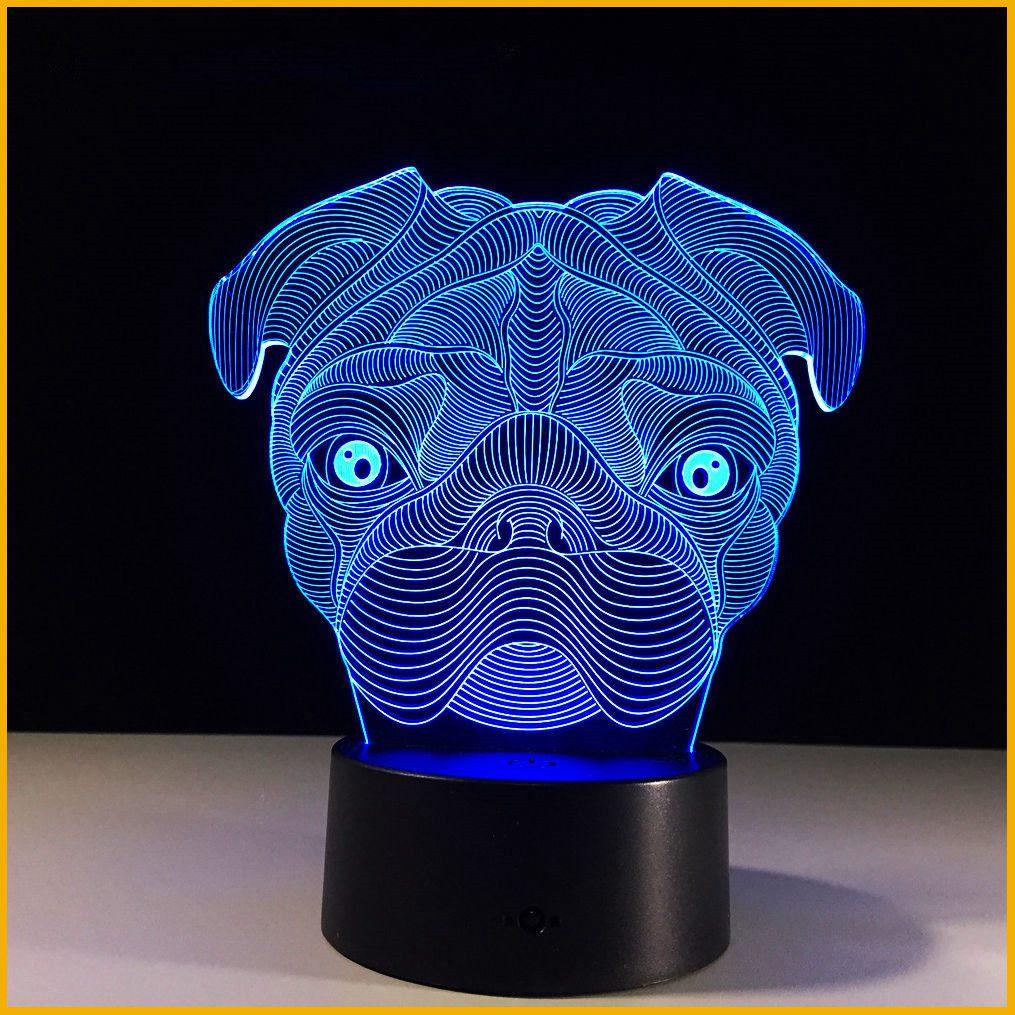 3D иллюзия милый щенок мопса ночник 7 цветов Изменение LED Настольная лампа для детей Прямая поставка