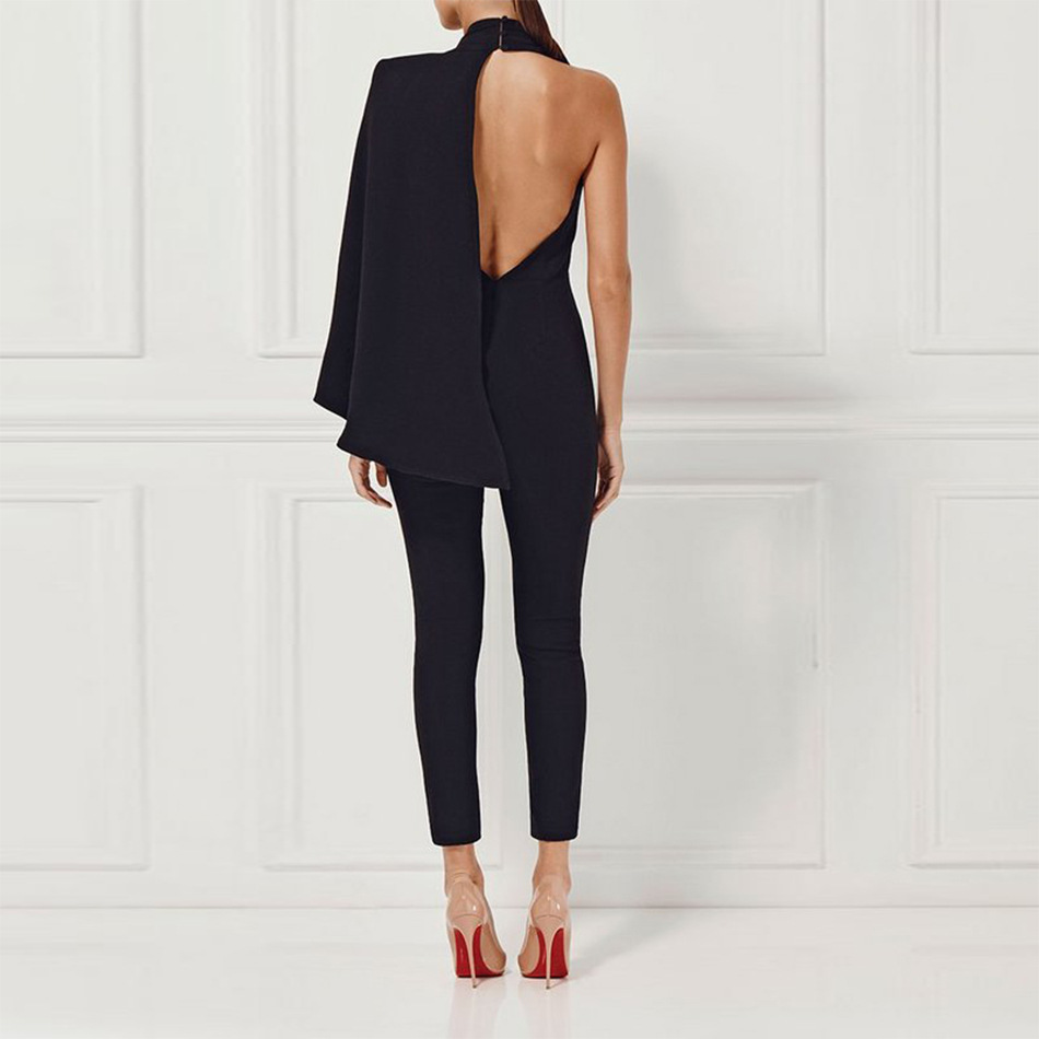 Hot sale Fashion New style Sexy Women Deep V-Neck Backless Bandage body con Jumpsuits night Club Party Jumpsuit wholesale