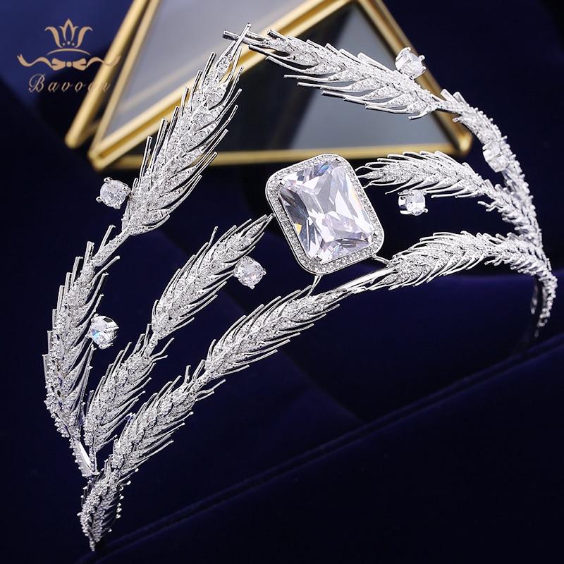 Bavoen Sparkling Crystal Wedding Hair Accessories Brides Royal Princess 4A Zircon Hairbands Queen Silver Tiaras Crowns