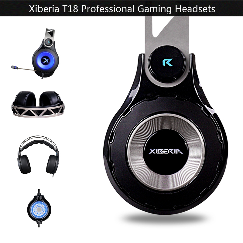 Xiberia T18 Gaming Headphones with Microphone 7.1 Surround Sound Stereo Headset Earphones Glowing LED Light USB for PC Computer