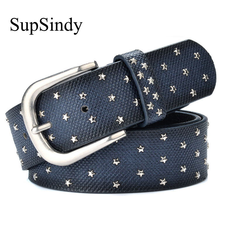 SupSindy woman   belts   Star geometric rivet pin buckle PU   belt   for women European fashion top quality faux leather strap for jeans
