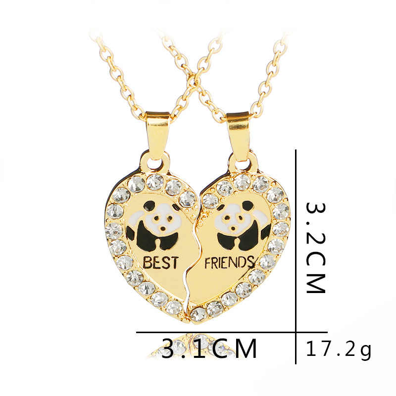 fa46fc977d ... Broken Couple Gift Necklace 2 Pcs/set Heart 2 Parts Animal Panda