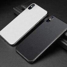 Buyruo סיבי פחמן רך בחזרה מסך מגן מדבקה עבור apple iphone XS Max XR סרט מלא כיסוי עבור iphone X 7 8 6 6 S בתוספת