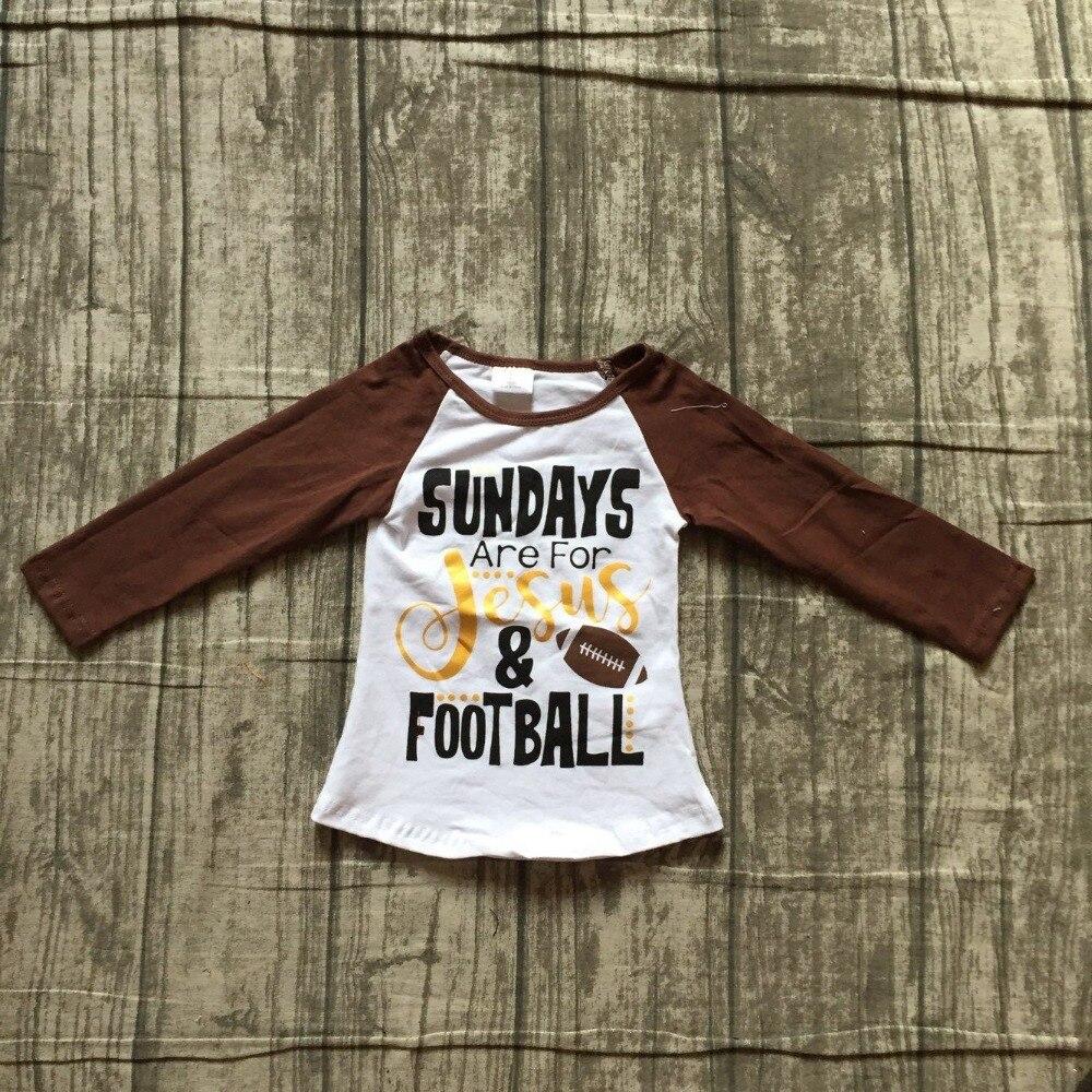 Del bambino di Autunno delle ragazze del manicotto pieno boutique Americano la domenica sono per Gesù e di calcio borwn bianco top T-Shirt per bambini vestiti di cotone