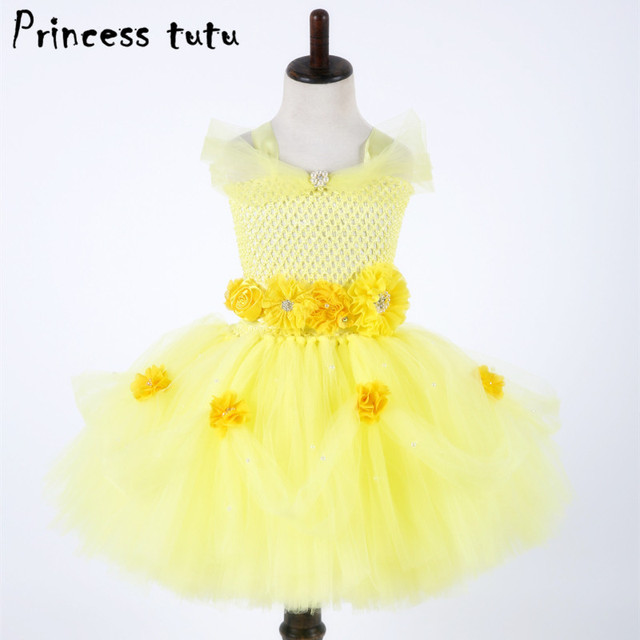 38fdfb4b5 Girl Princess Dress Tutu Belle The Little Mermaid Ariel Girls Dresses 3  Layers Christmas Halloween Costume Party Dresses W176