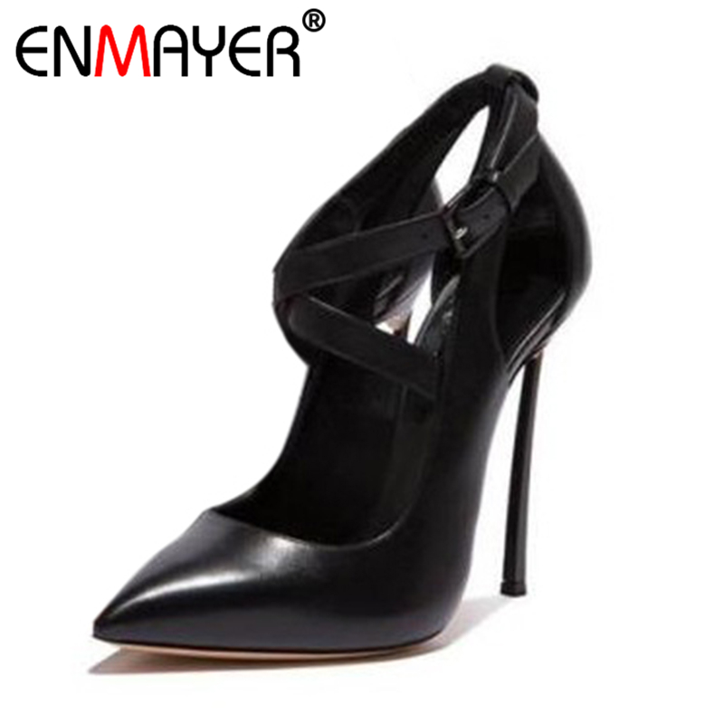 ENMAYER Women Pumps Extreme High Heels Cover Heel Buckle Classic Black Pointed Toe Summer Sexy Women Shoes Nightclub Style Party enmayer extreme high heels flock round toe buckle platform black shoes sandals hot fashion summer women pumps for party wedding