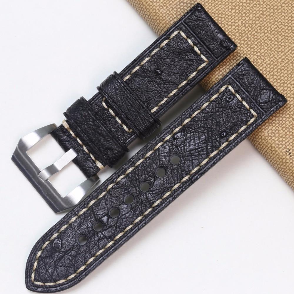 Pesno Africa Echtes Straußenleder Uhrenarmband Schwarz Braun Grau - Uhrenzubehör - Foto 4
