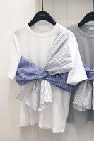 2019 New Stripe Splice T shirt Women's Short sleeved Loose Summer Round Collar Batted Shirt Korean Shirt T shirts Girls Students