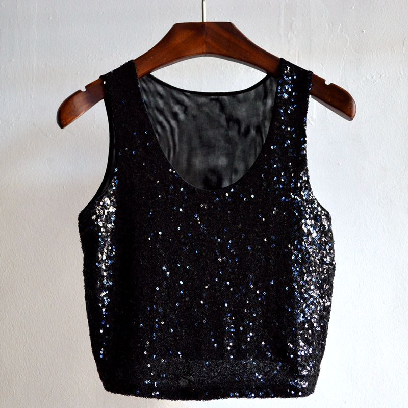 b2254040b28ea Women Fashion Nightclub Black Rhinestone Camis Low Cut Sequined Diamond  Short Tank Tops Hollow Out Backless Crop Tops-in Tank Tops from Women s  Clothing on ...