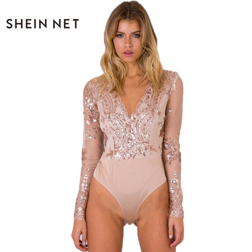 Sheinnet 2017 New Pink Sequin Bodysuit Women Sheer Sexy Women Bodysuit Tops  Long Sleeve V-Neck Elegant Bodysuit Romper Female bbc5b94697