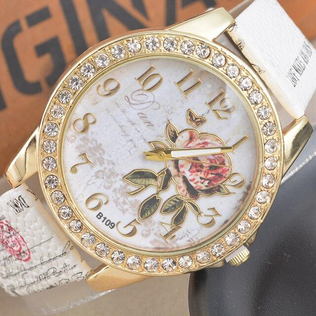 Women Watches Flower Rhinestone Luxury Lady Wristwatches Leather Fashion Causal Dress Watch Women Quartz Watch Bracelet Watches