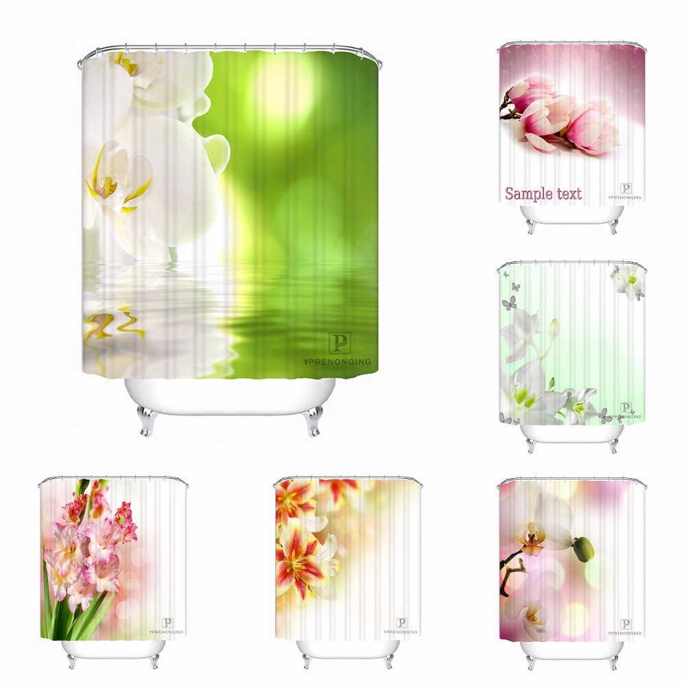 Custom Orchid Flowers Bath Curtain Bathroom Mildewproof Waterproof Polyester Shower Curtain#180417-04-83