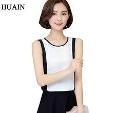 Для женщин майка шифоновая рубашка Лето новая корейская мода Белый Лоскутная Черный рукавов Топы корректирующие женские Фитнес женский рубашка