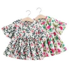 Новая одежда для малышей Девушки платье Детская Юбка-пачка вечерние платье принцессы труба Свадебная с укороченными рукавами, Хлопковое платье с принтом в стиле поп-симпатичная одежда