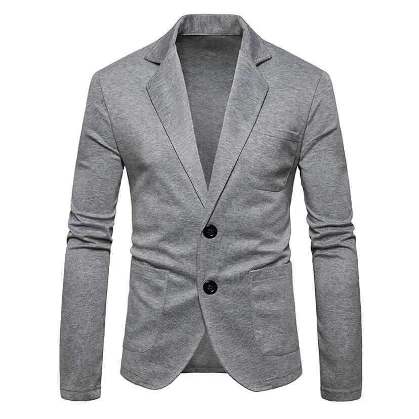 男性ブレザーシングルブレストニットコート 2019 ブランドファッション無地カジュアルスーツのジャケットカジュアルプラスサイズ男性服グレー