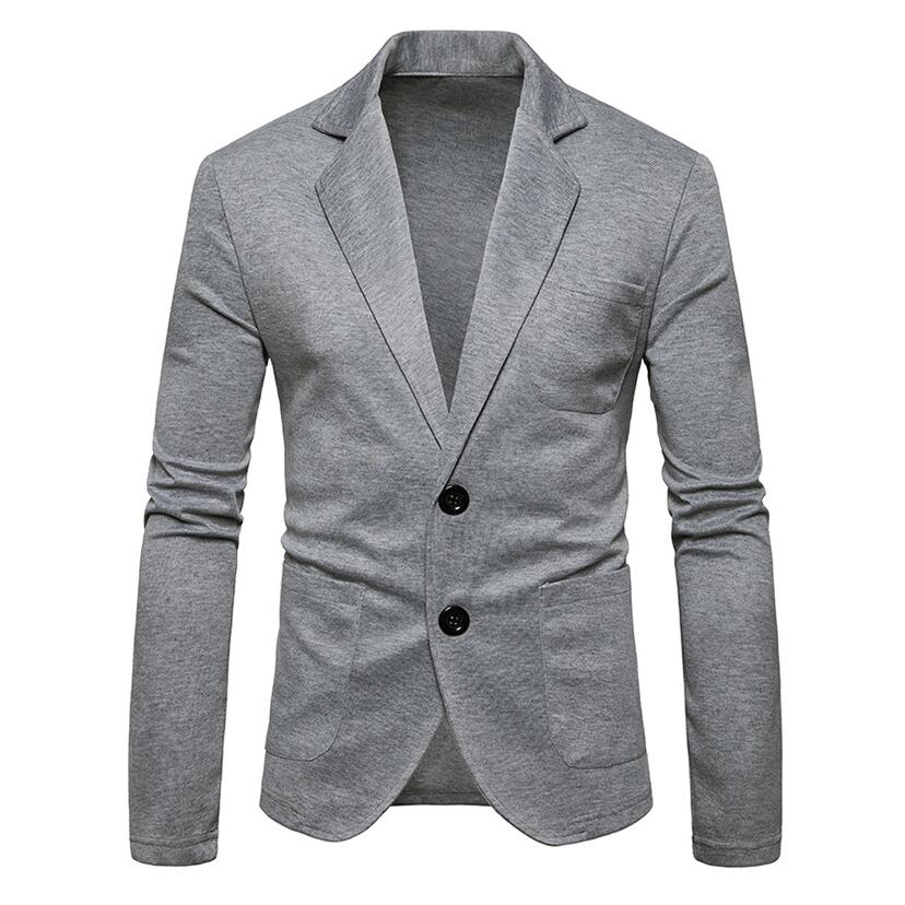 Men Blazer Single Breasted Knitted Coats 2019 Brand Fashion Solid Color Casual Suit Jacket Casual Plus Size Men Clothes Grey