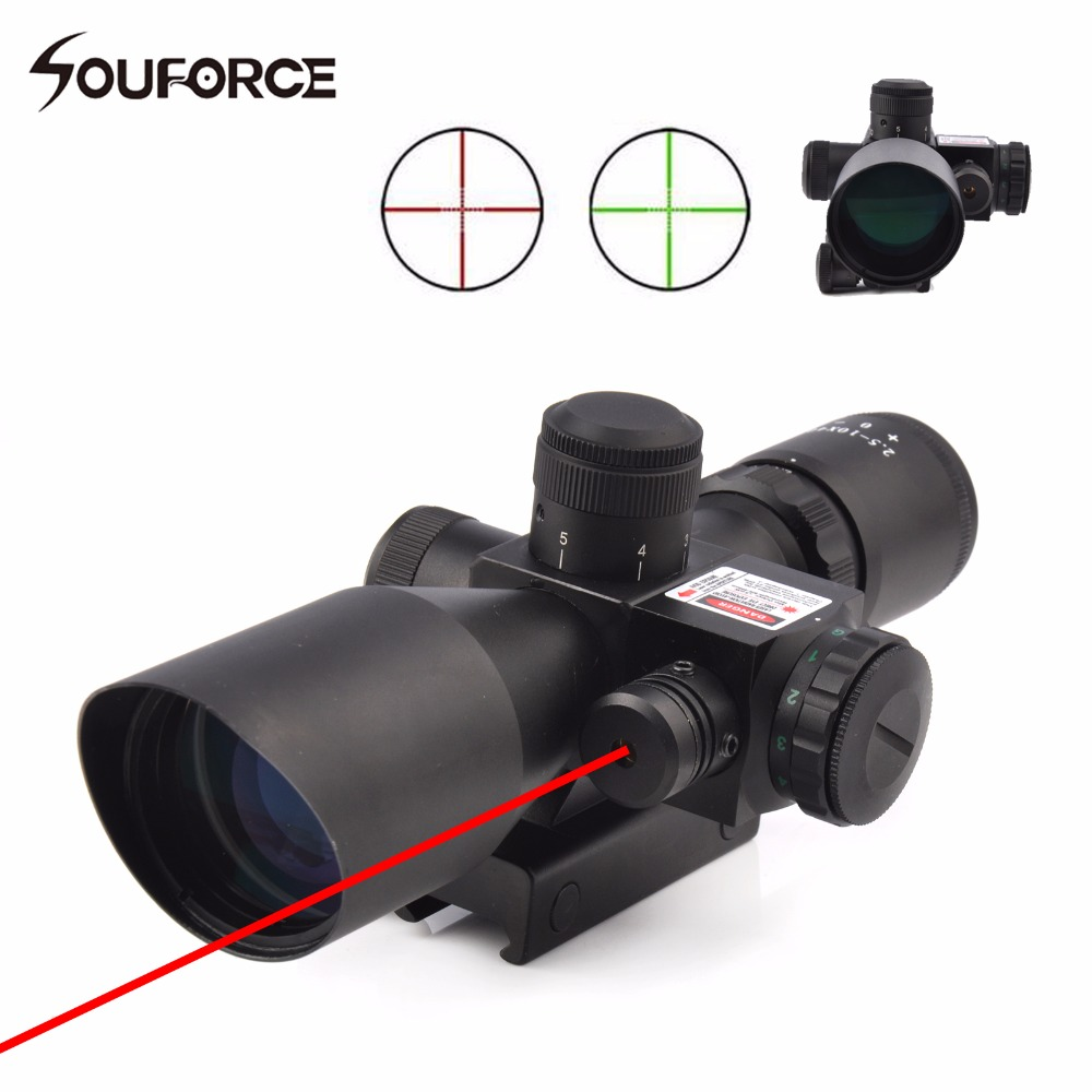 New 2.5-10x40 Tactical Rifle Scope with Red Laser Optical Sight Combo with Illuminated Red Green Mil-dot Crosshair 3 10x42 red laser m9b tactical rifle scope red green mil dot reticle with side mounted red laser guaranteed 100%