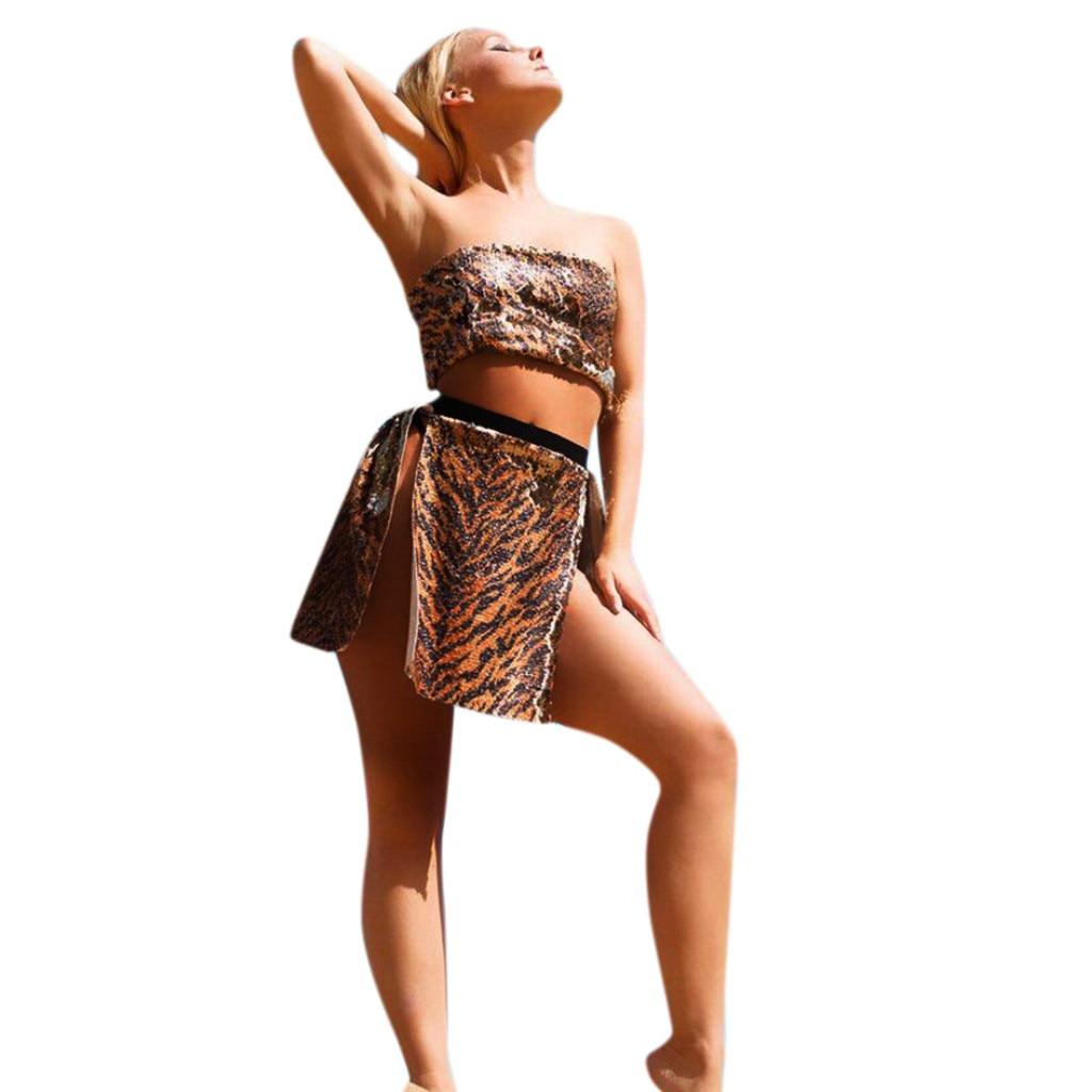 Womens Leopard Print Blouse Beach Tube Sleeveless Split Sequin Tops+Short Skirt Set Ladies Sexy Suit Blusas #J20