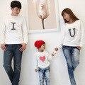 Свободного покроя осень семья одежда мать / детская одежда, Дочь, Сын, Отец с длинными рукавами пуловер я люблю тебя футболка тис S1709