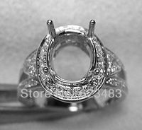 Oval 10x8mm Solid 14k WHITE Gold Natural Diamond Semi Mount Engagement