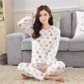 Новый фланель утолщение женщин осенью и зимой с длинными рукавами домашней одежды пижамы наборы красочных звезд женские теплые пижамы S2886