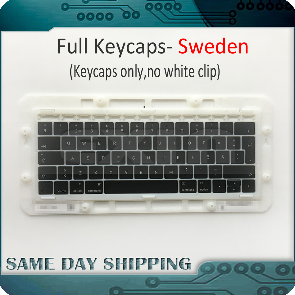 Laptop Keys Keycaps for Macbook Pro Retina 13 15 A1706 A1707 A1708 Sweden Swedish Keyboard Key Cap Late 2016 Mid 2017 image