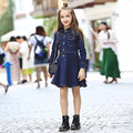 2016 Autumn Winter Clothing Dresses for Teen Girls Child Formal Dress Jeans Denim Button for Age5678910 11 12 13 14Years Old