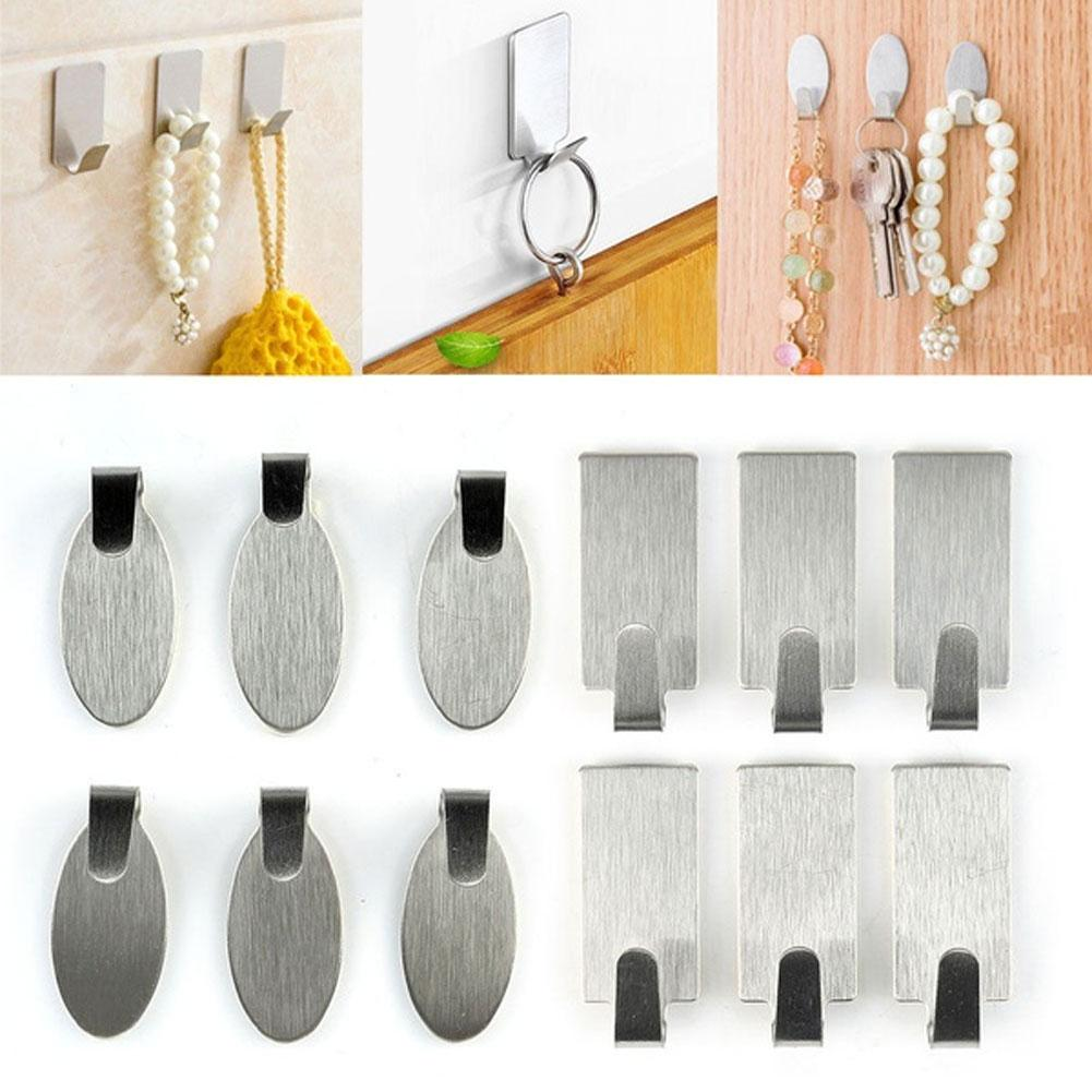 Hot 6Pcs Stainless Steel Self-Adhesive Door Wall Bathroom Kitchen Home Hanger Hook