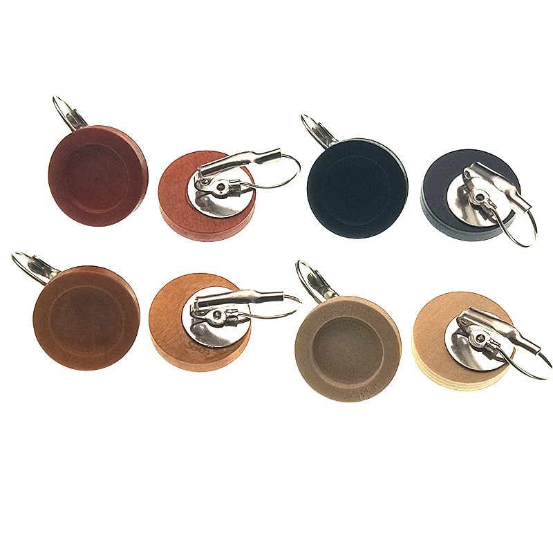 12mm Round Wood Cabochon Earring Blanks Stainless Steel French Lever Ear Hooks Drop Earring Base Settings for DIY Jewelry Making in Jewelry Findings Components from Jewelry Accessories