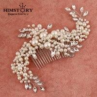HIMSTORY Handgefertigte Wunderschöne Perle Kristall Kamm Haarschmuck Große Größe Braut Hochzeit Zubehör großhandel
