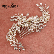 HIMSTORY Handmade Gorgeous Pearl Crystal Comb Hair Ornaments Large Size Bride Wedding Accessories wholesale
