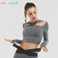Colorvalue Breathable Training Fitness Crop Top Women Sexy Front Cross Sport Shirt Long Sleeved Workout Gym