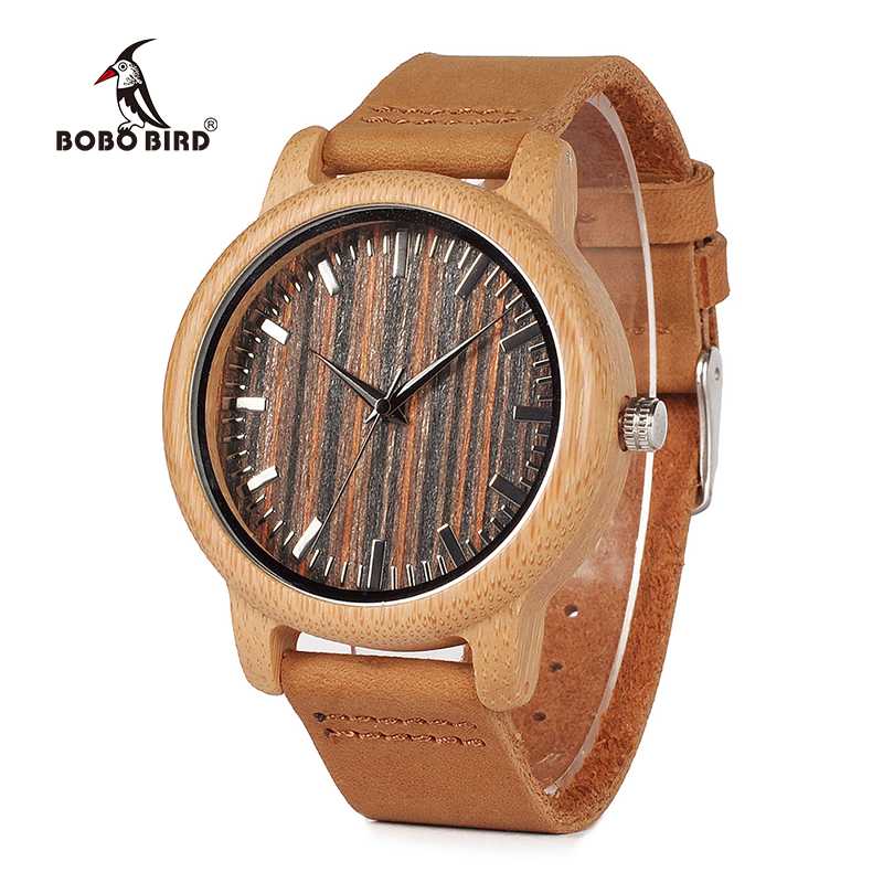 BOBO BIRD Mens Handmade Bamboo Watches Wooden Dial Leather Strap Quartz Wristwatch in Gift Box Relojes Hombre V-H08