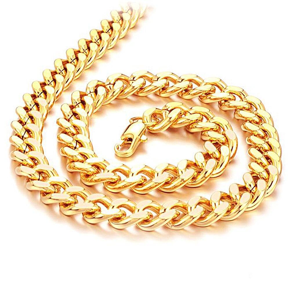 dc7da3e2825a Fashion Men s Necklace Twist Chain 50cm 60cm Yellow Gold Punk Rock Cool